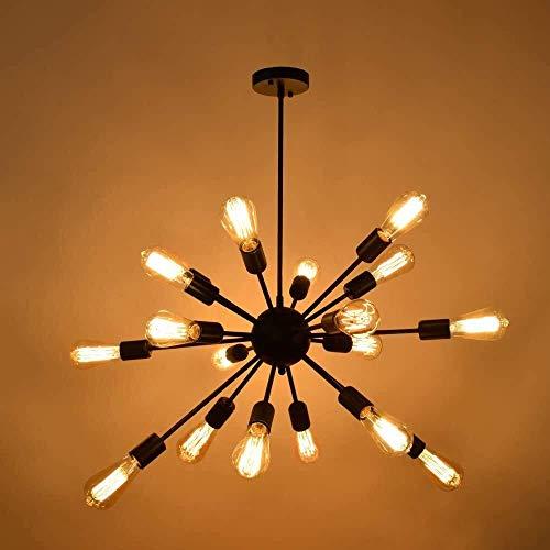 GaoF Lámpara de araña de Hierro Retro Industrial Que Enciende 10/18 enchufes Candelabros de araña Vintage Lámpara de Techo Moderna Accesorio de iluminación Base E27 Lámpara Colgante de Isla de Cocina