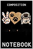 Notebook: Funny Peace Love Pekingese Dog Lover Gift 100 page 6x9 inch