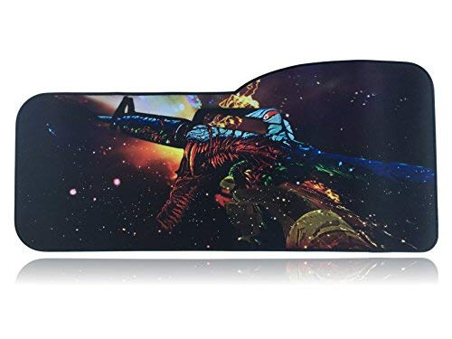 H1Z1 Extended Size Custom Professional Gaming Mouse Pad - Anti Slip Rubber Base - Stitched Edges - Large Desk Mat - 28.5' x 12.75' x 0.12' (Curve, Assault Rifle)