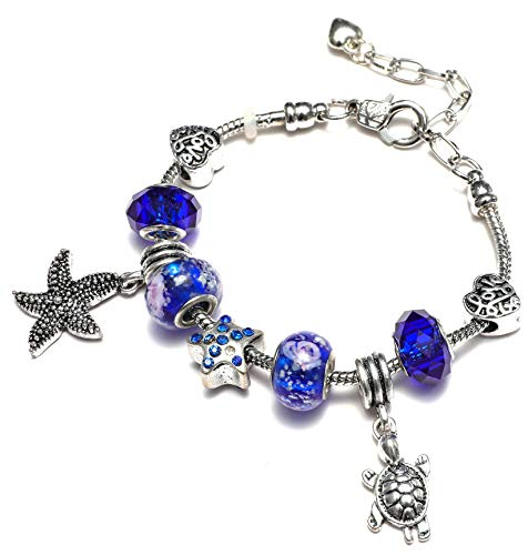 Marine Blue Starfish and Charms Bracelet for Women and Girls
