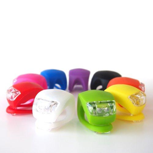 【全9色】高輝度LED2灯 シリコン 自転車 フロントライト (ライトグリーン)