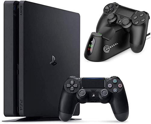 2021 Sony Playstation 4 1TB Console - Black PS4 Slim Edition with 1TB Storage Holiday Bundle: 1 DualShock Wireless Controller + Marxsol Dual PS4 Controller Fast Charging Dock