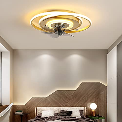 48W Ventilador Techo Con Luz y Mando A Distancia, Moderno LED Regulable Lamparas Ventilador De Techo Salon Silencioso Invisible Con Temporizador 3 Velocidades Ventilador De Techo Dormitorio,Oro