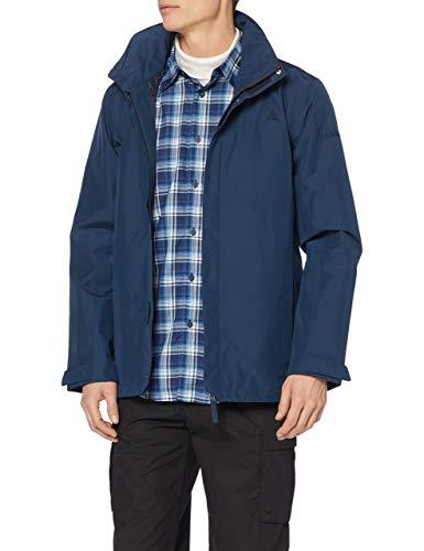Schöffel Herren Jacket Aalborg2 wasser und winddichte Outdoorjacke mit verstaubarer Kapuze atmungsaktive Regenjacke für Männer, Dress Blues, 56 EU