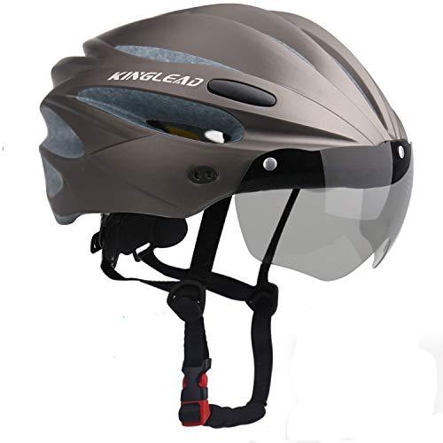 KINGLEAD Fahrradhelm mit Sicherheitslicht und Visier, CE-zertifiziertem, unisexgeschütztem Fahrradhelm für das Radfahren im Freien. Sicherheitssuperleichter, Verstellbarer Fahrradhelm (Titan)