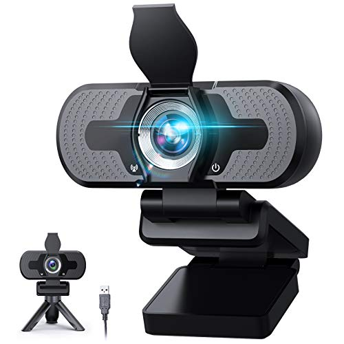 Webcam with Microphone,Plug and Play 1080P Webcam with Privacy Cover Tripod,110 Degree Wide Angle 30fps Webcam with Microphone for Video Conferencing Calling Gaming Skype Zoom in Laptop (Black)