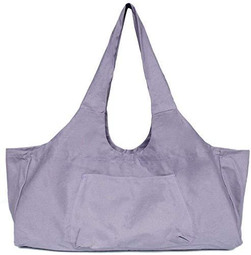 Bolsa para esterilla de yoga grande, Yoga Mat Tote Sling Carrier Bag Bolsa de asas de lona de algodón portátil Bolsa de yoga Estera de yoga 2 bolsillos adicionales para la mayoría de tapetes