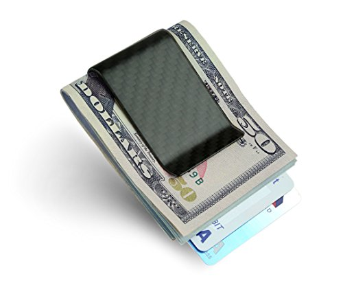 Carbon Fiber Money Clip Credit Card holder - SERMAN BRANDS Slim Business Card Holder Clips for men Black (Matte)
