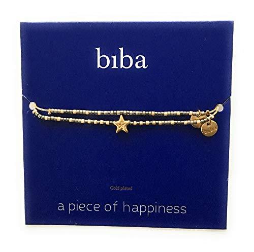 Wunschkarte SET Stern Star Armband gold beige/grau Freundschaftsarmband Make a Wish CLW Biba