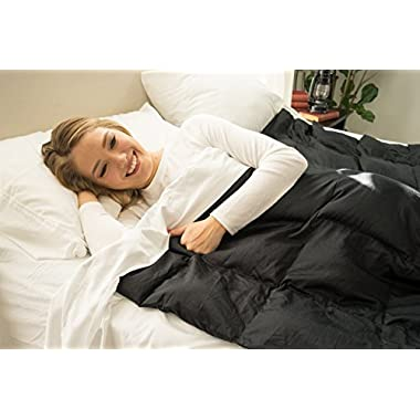 Lifetime Sensory Solutions Queen Bed Weighted Blanket by, Weighted Sensory Blanket for Adults (25 lb for medium-high pressure, Black Cotton Sateen) Originally 339.99
