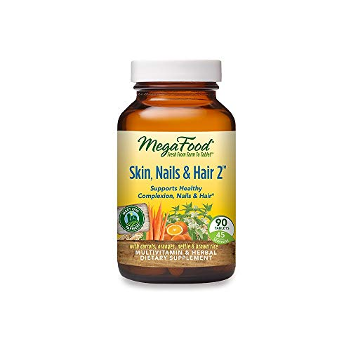 MegaFood, Skin, Nails & Hair 2, Supports Healthy Complexion, Nails & Hair, Multivitamin & Herbal Dietary Supplement, Gluten Free, Vegan, 90 tablets (45 servings)