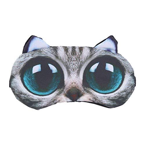 Healifty 3d Big Eyes Cat Masque Dessin animé Animal couchage Masque Coton Masque de refroidissement pour voyage Home Office Rest