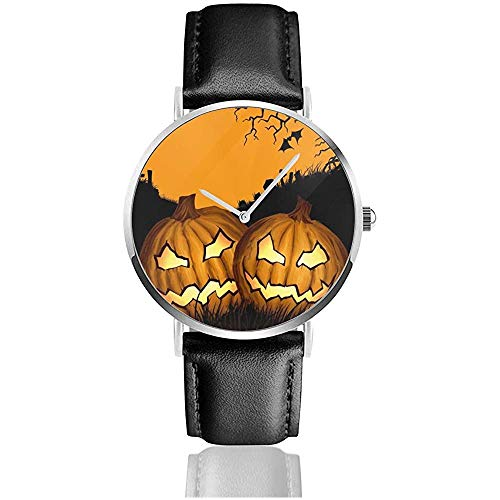 Halloween Kürbis Yellow Moon Unisex Uhr Mode Sport Uhr Lederuhr Armbanduhren Business Uhr