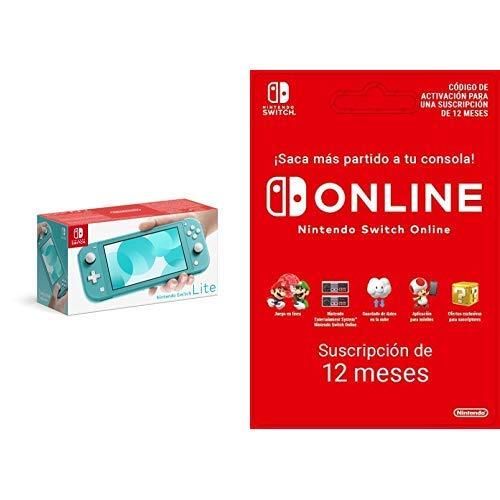 Nintendo Switch Lite Consola Azul Turquesa + Nintendo Switch Online 12 Meses (Código de descarga)