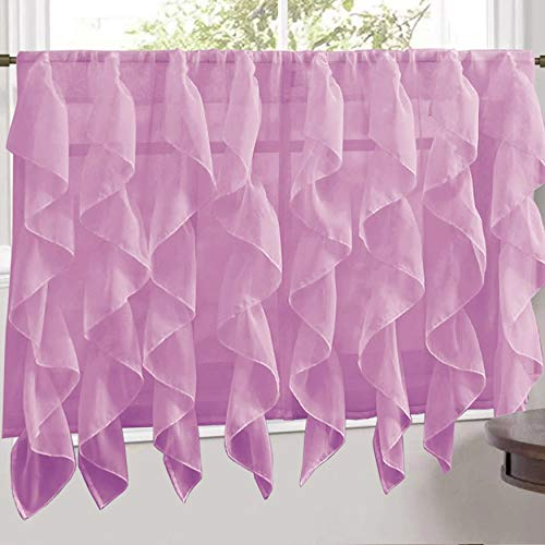 """Sweet Home Collection Lavender Vertical Ruffled Waterfall Valance and Curtain Tiers 24"""" Tier Pair"""