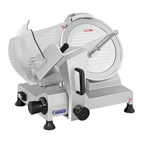 Royal Catering Affettatrice Professionale Per Salumi RCAM-300 (230 V, 250 W, Acciaio, 300 mm, 0-15 mm, 313 RPM)