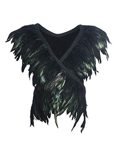 L'VOW Damen Gothic Schwarz Federn Umhang Schal Spitze Engelsflügel Flügel Kragen Raben kostüm (Typ C)