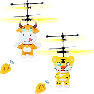 LOCOLO 2 Pack Flying Ball Toys Mini Drone for Kids Adults RC Infrared Induction Flying Helicopter Toys Rechargeable Light Up Drone with Remote Controller for Indoor and Outdoor Games