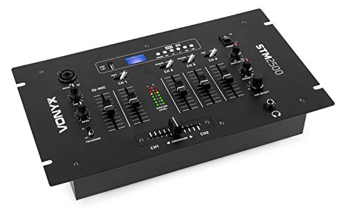 Vexus STM2500 5-Kanal-Mischpult Bluetooth-DJ-Mixer (USB-Slot, MP3-Sktion, XLR, EQ, Phono, Mikrofon-Sektion) schwarz