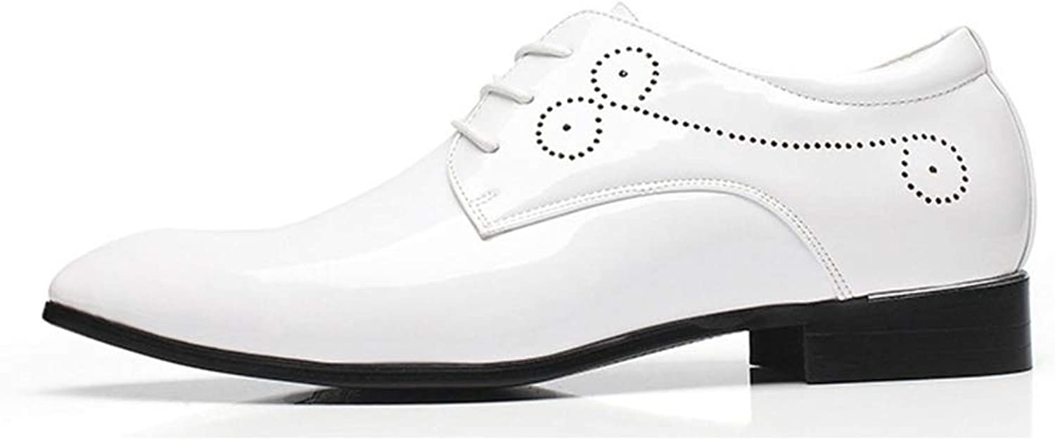 ZHRUI Mens Classic Pointed Toe shoes Soft Sole Polished Patent Leather Lace up Derbys (color   White, Size   UK 7.5)