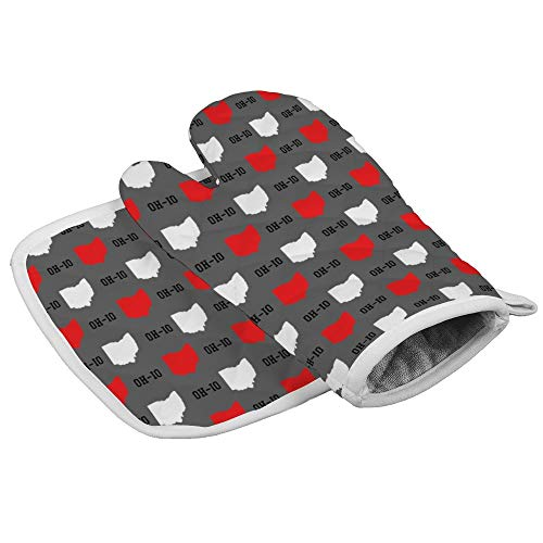 QSMX New Oh-io State Map Pattern Gray Heat Resistant Kitchen Oven Mitts, Set of 1 Oven Gloves and 1 Pot Holder with Cotton Lining for Barbecue Machine Birthday Christmas Party