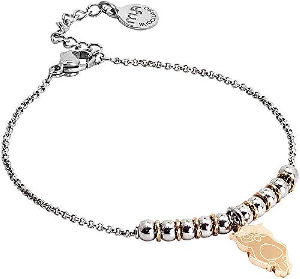 Boccadamo, bracciale per donna,in acciaio rodiato,decoro centrale composto da beads,e pendente Sa/Br29