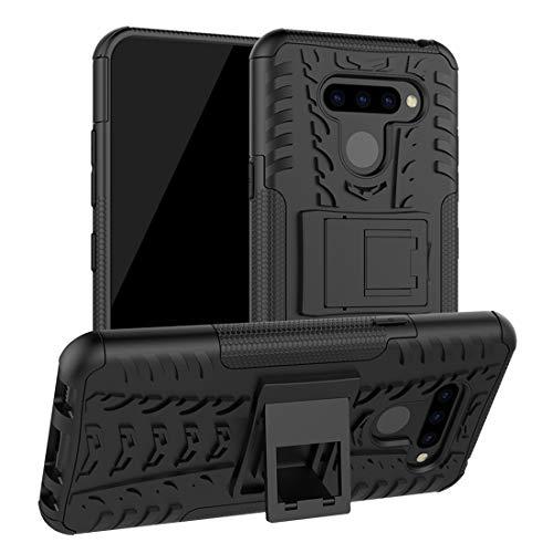 Funda Protectora del teléfono Cubierta de teléfono para LG Q60, Textura de neumáticos TPU + PC Funda Protectora a Prueba de Golpes con Titular (Color : Black)