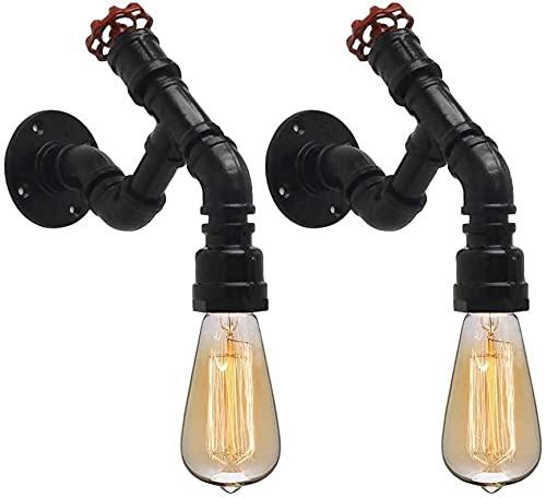 Lámpara de pared de moda Lámpara de pared de tubo de agua retro industrial negro 2 pack steampunk DESVÁN Iluminación Edison E27...