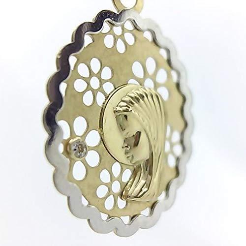 Medalla Virgen niña Primera comunión - Oro Ley 18K Bicolor
