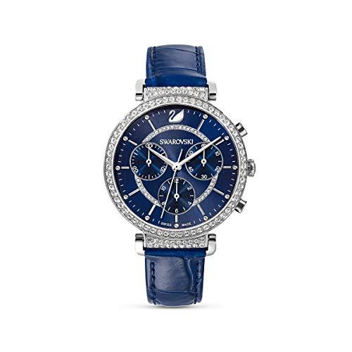 Swarovski Passage Chrono Uhr, Lederarmband, blau, Edelstahl