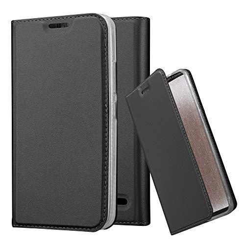 Cadorabo Hülle für Motorola Moto E4 in Classy SCHWARZ - Handyhülle mit Magnetverschluss, Standfunktion und Kartenfach - Case Cover Schutzhülle Etui Tasche Book Klapp Style