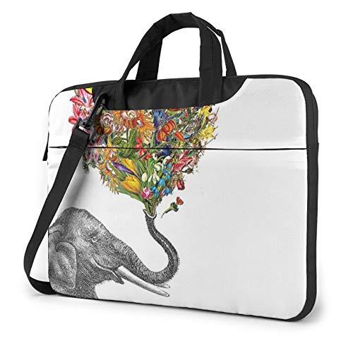 Bolso de hombro para portátil – Elefante con flores en forma de corazón impreso a prueba de golpes impermeable portátil mochila bolsa de hombro maletín, Black (Negro) - 259841-Black-198