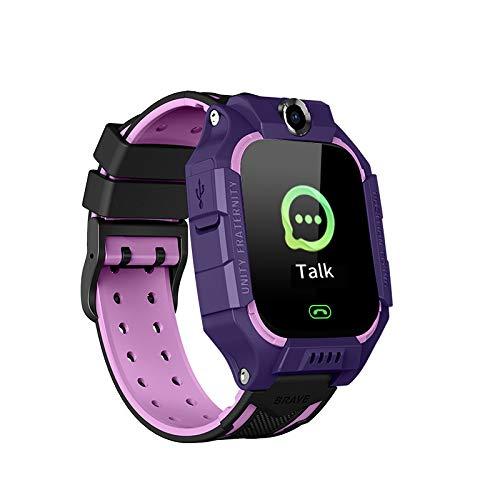 NBVC Smart Kids Reloj SOS-Antil perdido SmartWatch bebé Tarjeta SIM 2G Reloj de Llamadas SmartWatch Niño (Color : Purple)