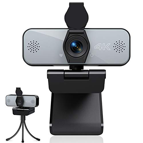 Webcam mit Mikrofon, UHD 4K Webcam mit Stativ, Streaming Kamera mit Abdeckung, Plug and Play PC Kamera für Live-Streaming, Videoanruf, Konferenz, Online-Kurs, Kompatibel mit Windows/Linux/Android