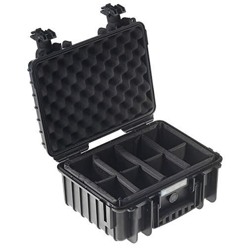 B&W Transportkoffer Outdoor Typ 3000 schwarz mit variabler Facheinteilung - wasserdicht nach IP67 Zertifizierung, staubdicht, bruchsicher und unverwüstlich