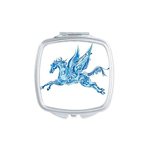 Blue Horse Wing Animal Art Grain Mirror Portable Compact Pocket Makeup Double Sided Glass