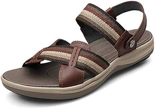 Streifen Toe Open Sommer Sandalen Walking Herren K Flame
