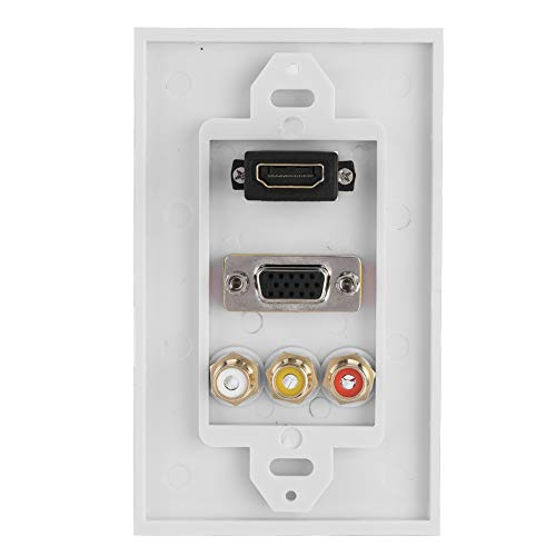 SANON 3-in-1 HDMI VGA RCA Ports Multimedia Panel Multi-level Protection Multimedia Wall Socket