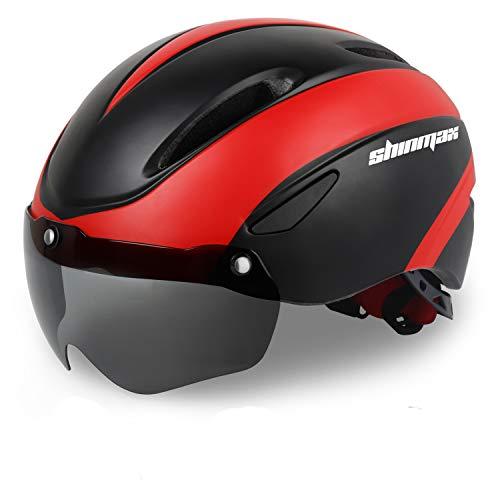 KINGLEAD Compatible con Cascos de Bicicleta, Casco de Bicicleta de Ciclo Ajustable Certificado CE con Gafas de protección magnética Desmontable Visor Shield (Negro Rojo) SavvyGrow