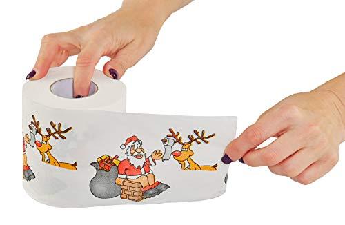HOME-X Santa-Themed Toilet Paper, Festive Gag Gift, Novelty Holiday Gift, X-Mas Tree Tissue, Home...