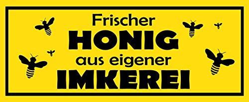 Frischer Honig aus eigener Imkerei Biene Blechschild Metallschild Schild gewölbt Metal Tin Sign 10 x 27 cm