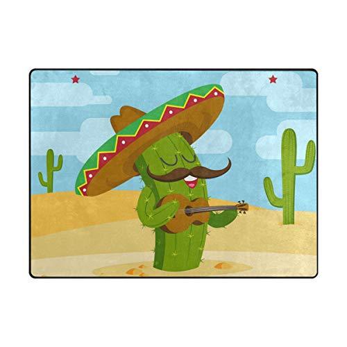 FANTAZIO vloermatten voor kinderen Cactus Spelen Gitaar Ruimte Tapijt Rechte Tapijt Gripper polyester Ideaal Tapijt Stopper Voor Keuken/Badkamer 63x48in/80x58in 63 x 48 inch 1 exemplaar