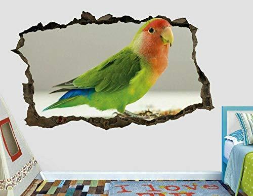 Etiqueta Engomada de la Pared del Tatuaje de la Pared 3D Animal Bird Agapornis Decoración de Pared Calcomanías de Papel Tapiz Para Dormitorios de Niños y Niñas 15.7x23.6inch(40x60cm)