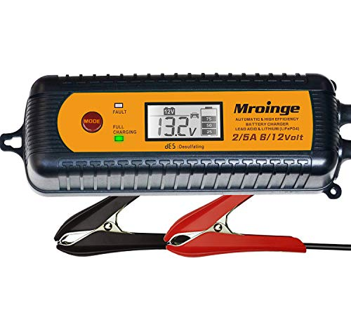 Mroinge 5A 6V/12V Fully Automatic 7-Stages Smart Car Battery Charger, Battery Maintainer and Battery Desulfator for Lead Acid and Lithium Batteries, With LCD Display and IP65 Waterproof
