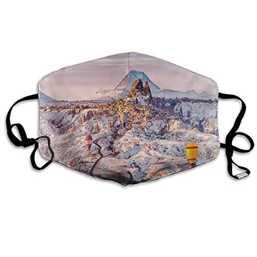 Cómoda máscara a Prueba de Viento, Capadocia Turquía Paisaje con Globos de Aire Caliente Valle de Anatolia Geología Turismo