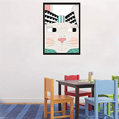 N / A Kawaii Rabbit with Funny face Canvas Painted Geometric Animal Poster Wall Picture Room Decoration Frameless 21x30cm