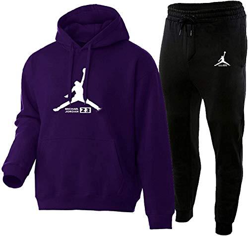 HUPAI Chandal Hombre Completo, Pantalon Chandal Hombre Y Chandal Hombre, 3D Impreso Jordan Negro Fashion Sportswear Adecuado para Calzado Deportivo (s-3xl) (Purple,XXL)