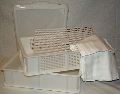 Enolandia Große Reifebox 40cm x 30cm, Zwei Schalen, EIN Deckel, EIN Abtropfgitter zur Käseherstellung