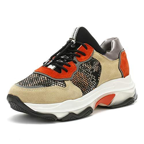 Bronx Damen Cappuccino Braun/Snake Baisley Chunky Sneakers-UK 7