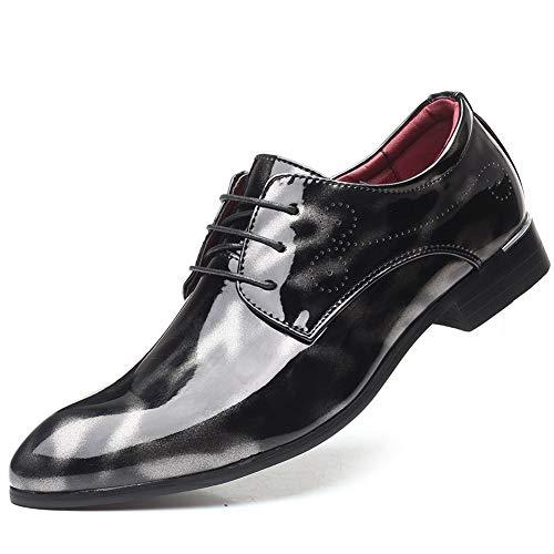SAIPULIN Lace up Faux lederen jurk Party Low Top Carving puntige teen antislip rubberen buitenzool Patent Oxfords voor mannen zakelijke schoenen
